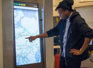On NYC's subway system you can use touchscreen digital signage to find your way