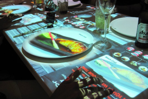 London restaurant Inamo lets diners order from their digital tables using touchscreen digital signage