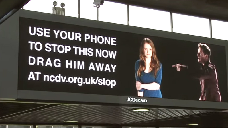 Digital signage advertising - Domestic abuse campaign